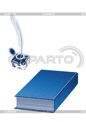 Inkwell Pen And A Book Isolated On The White Background     Arkela