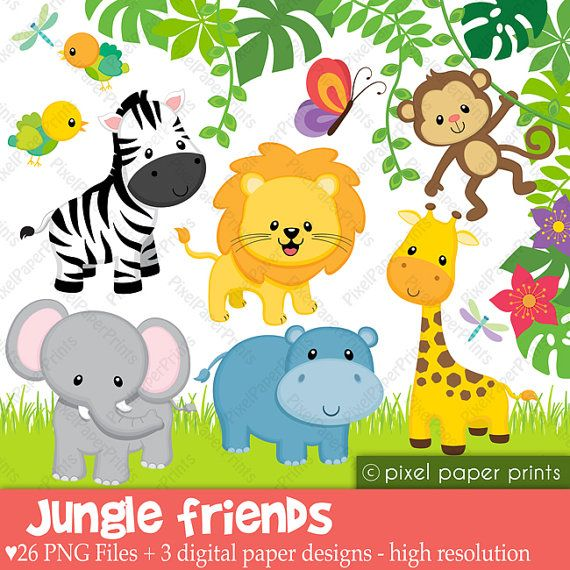 Jungle Animals Clipart Baby Safari Animals Clip Art Baby Jungle