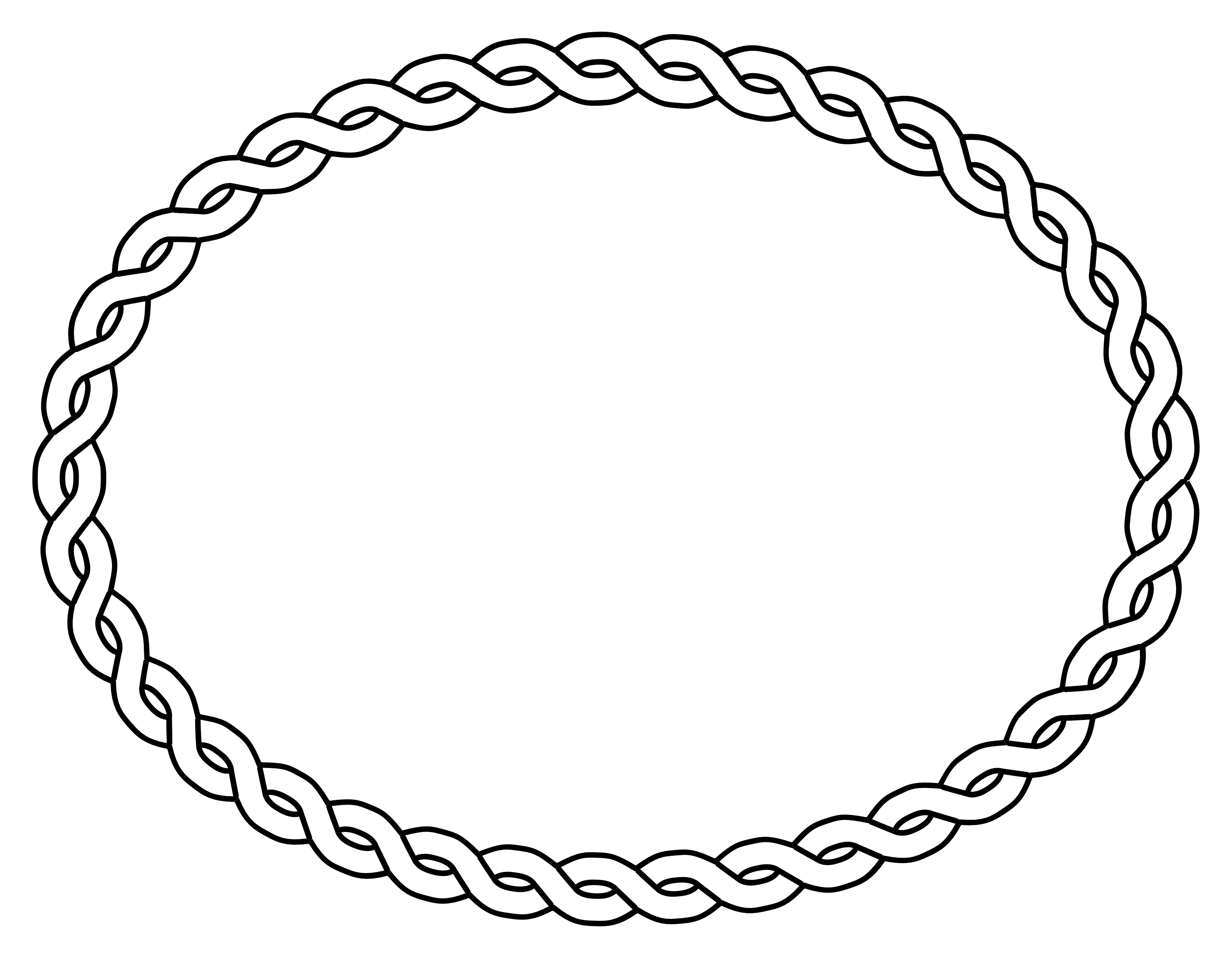 Oval Frame Clipart Black And White Rope Border Oval Black White Line