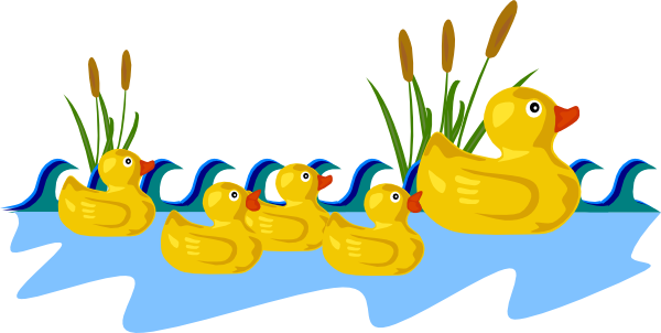 Rubber Duck Family Swimming Clip Art At Clker Com   Vector Clip Art