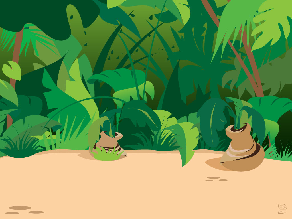 This Cool Jungle Scene Is In A Cartoon Style  A Nice Setting For An