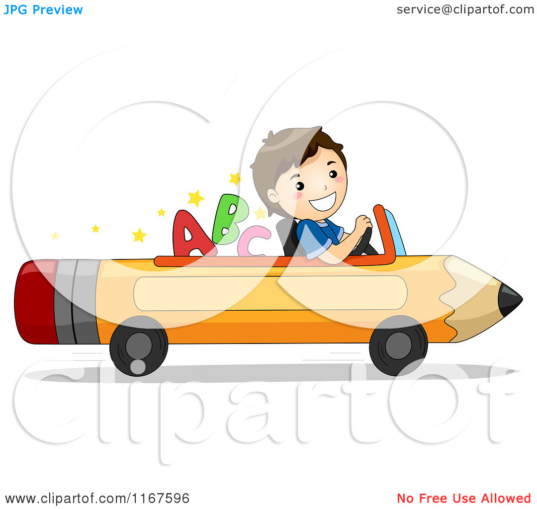 Cartoon Of A Happy School Boy Driving A Pencil Car With Letters