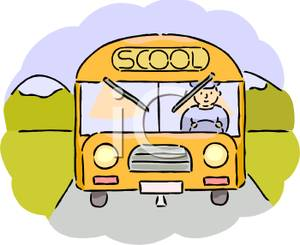 Clipart Image Of A School Bus Driver Driving A Bus