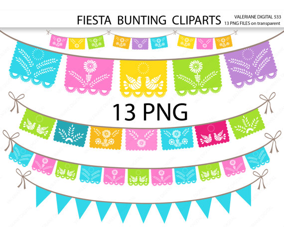 Fiesta Digital Bunting Clipart Mexican Clip Art Clipart For