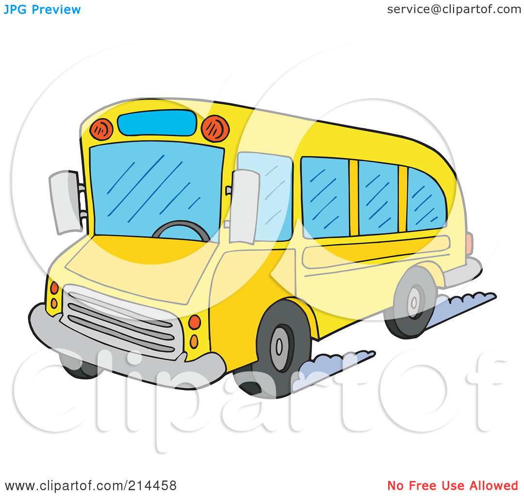 Free  Rf  Clipart Illustration Of A School Bus Driving By Visekart