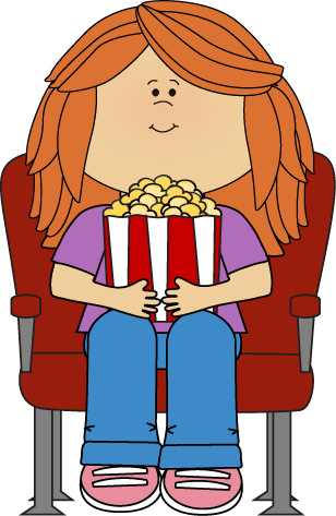 Girl Watching Movie With Popcorn Clip Art   Girl Watching Movie With