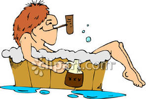 Hillbilly Taking A Bath   Royalty Free Clipart Picture