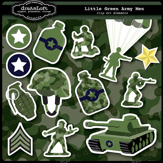 Little Green Army Men Clipart Set For Boys Party Themes Invitations