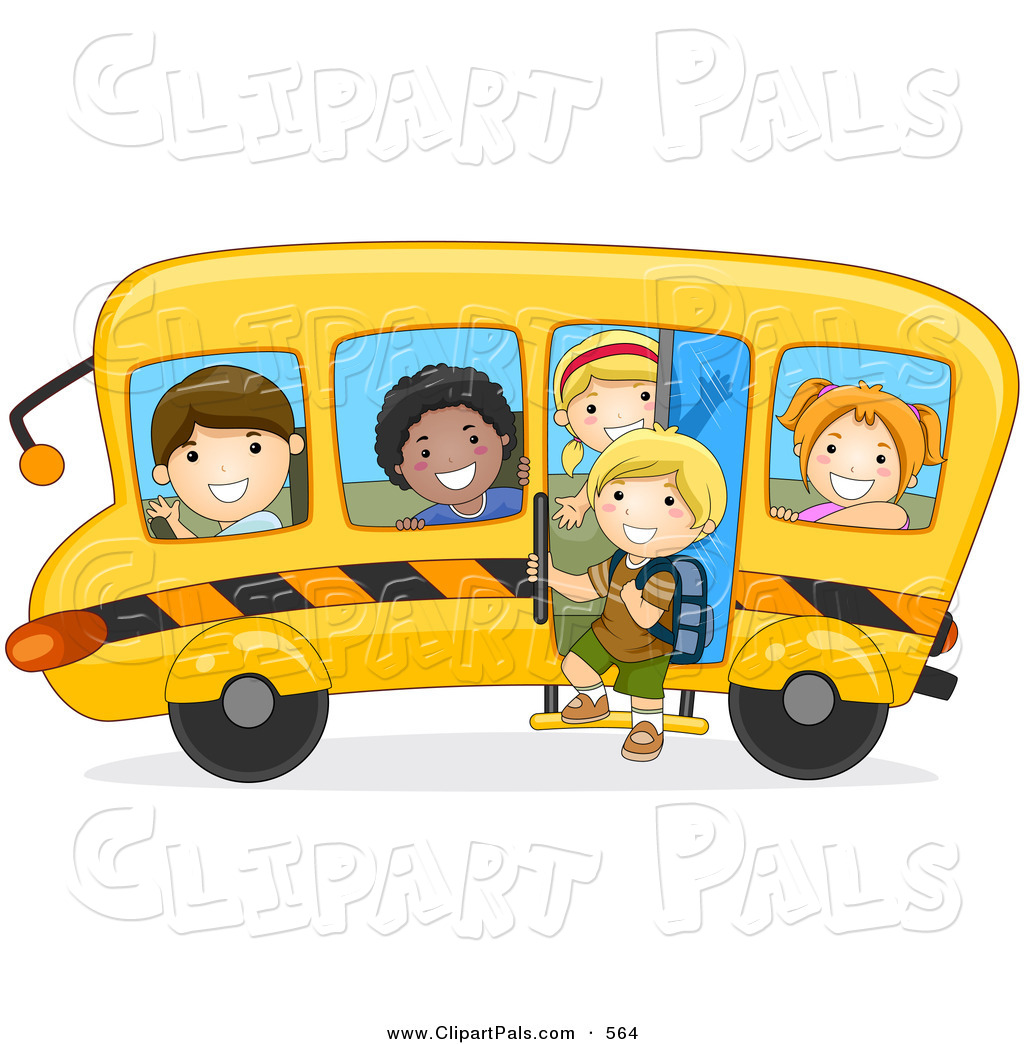 Of Diverse School Kids On A Bus Driving To The Left Diverse School