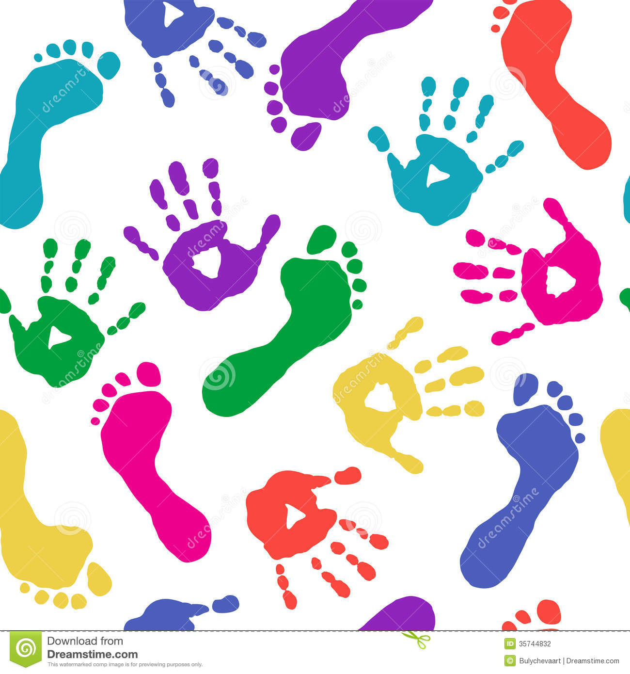 Paints Prints Of Hands And Feet Stock Photography   Image  35744832