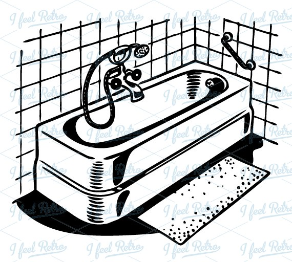 Bathroom Clip Art Black And White: Vintage Bath Clipart
