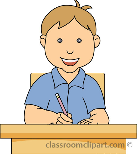 School   Young Boy At Desk Writing   Classroom Clipart