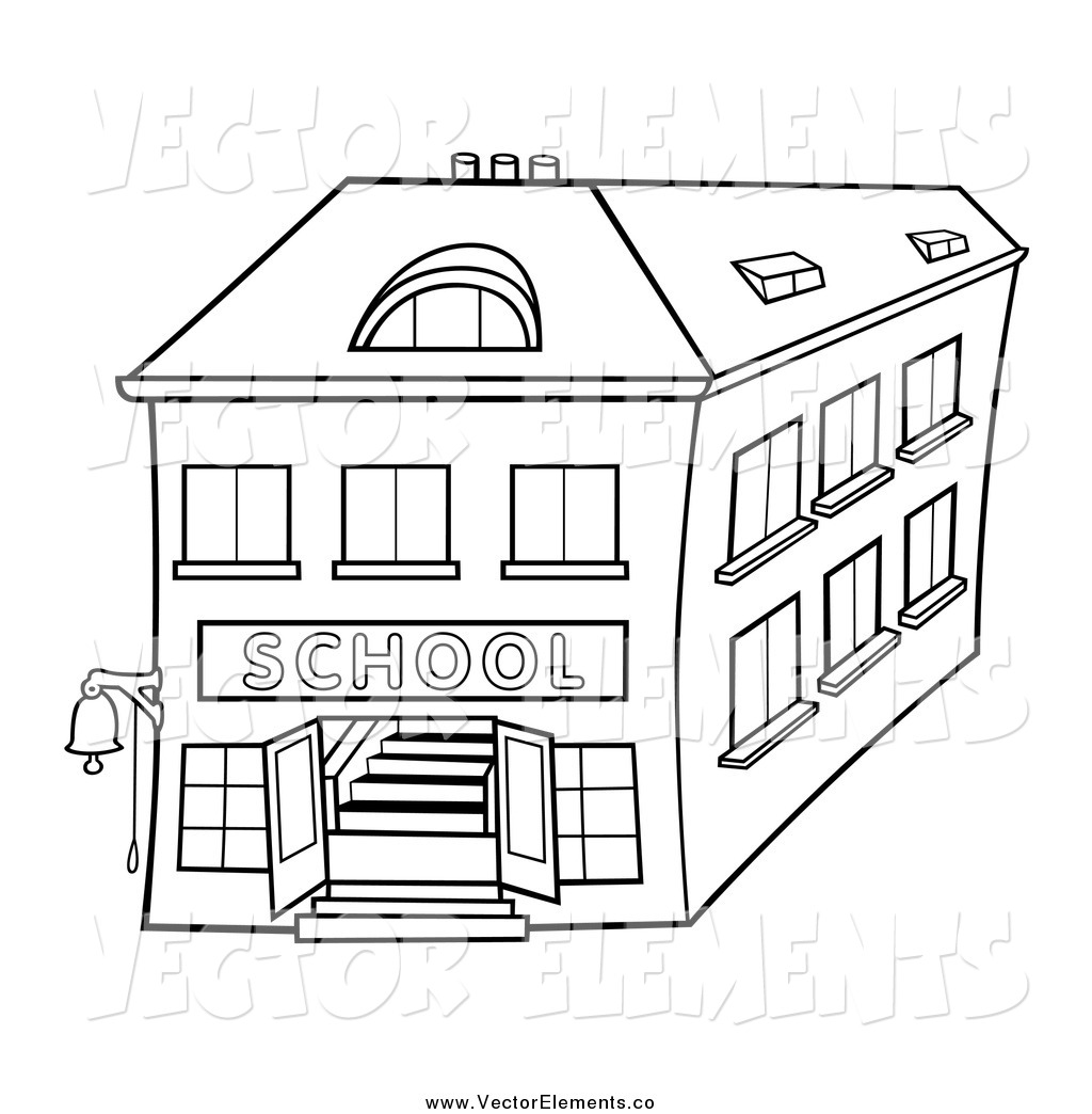 Vector Of A Black And White Two Story School Building By Dero    52315