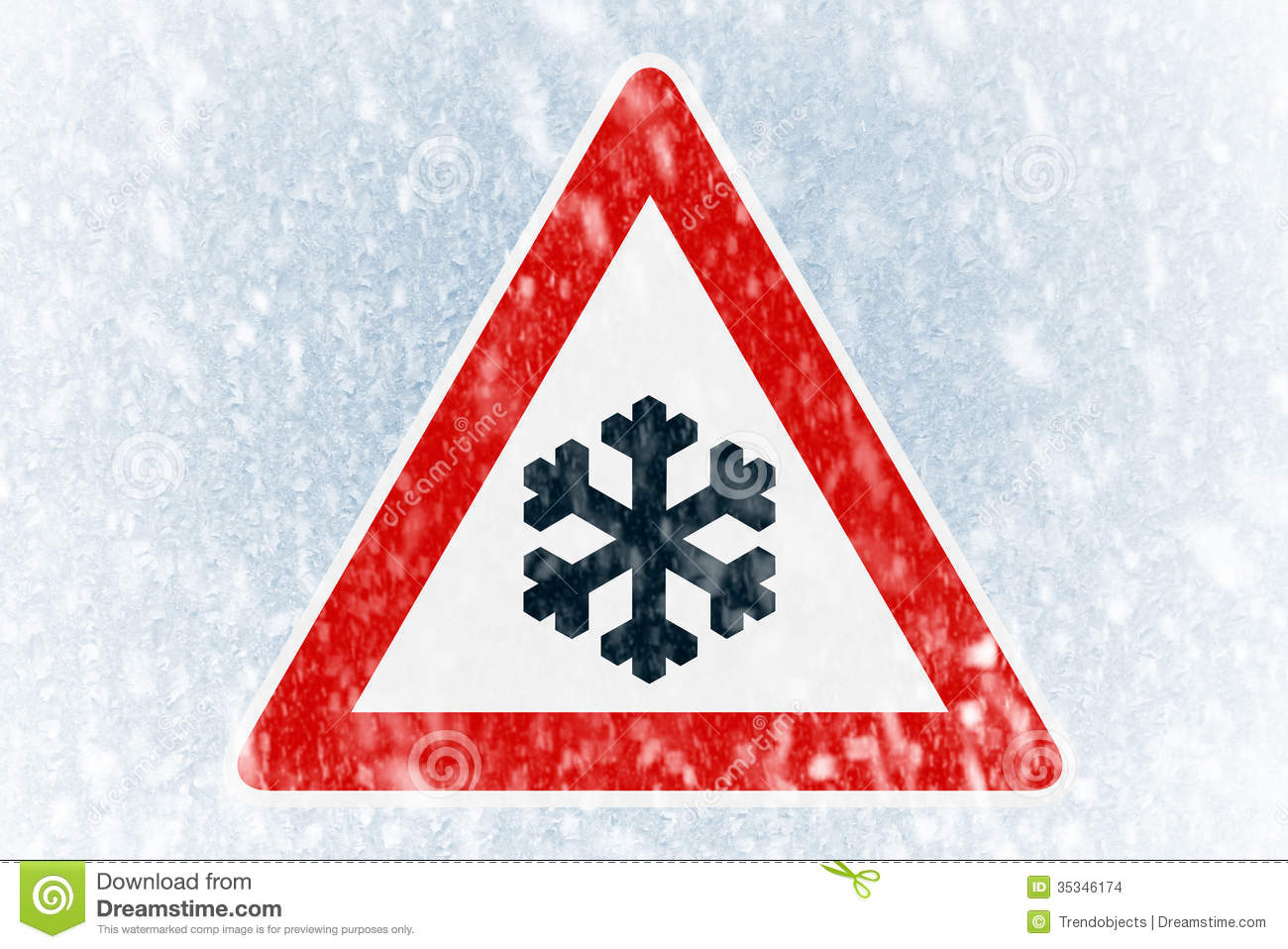 Winter Driving   Winter Background With Warning Sign Stock Images