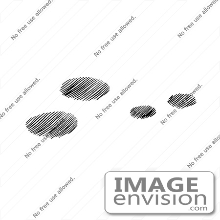 61641 Clipart Of Snowshoe Rabbit Tracks In Snow In Black And White