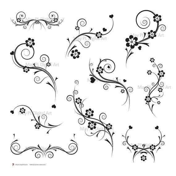 Digital Stamp Design Flourish Rose Border Corner Clip Art: Clip Art Black And White Gift Wrapping Clipart