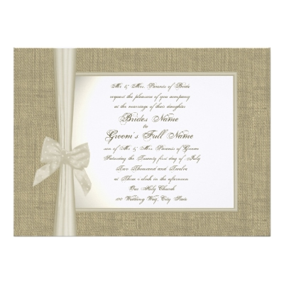 Burlap And Bow Rustic Wedding Invitation Customisable With Your Own