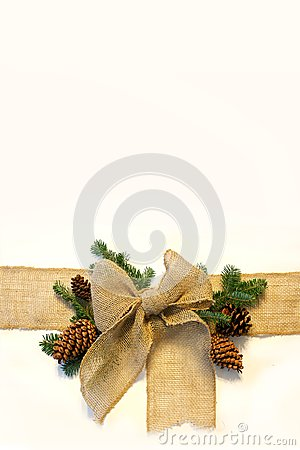 Burlap Fabric Ribbon Is Isolated On A White Background Surrounded