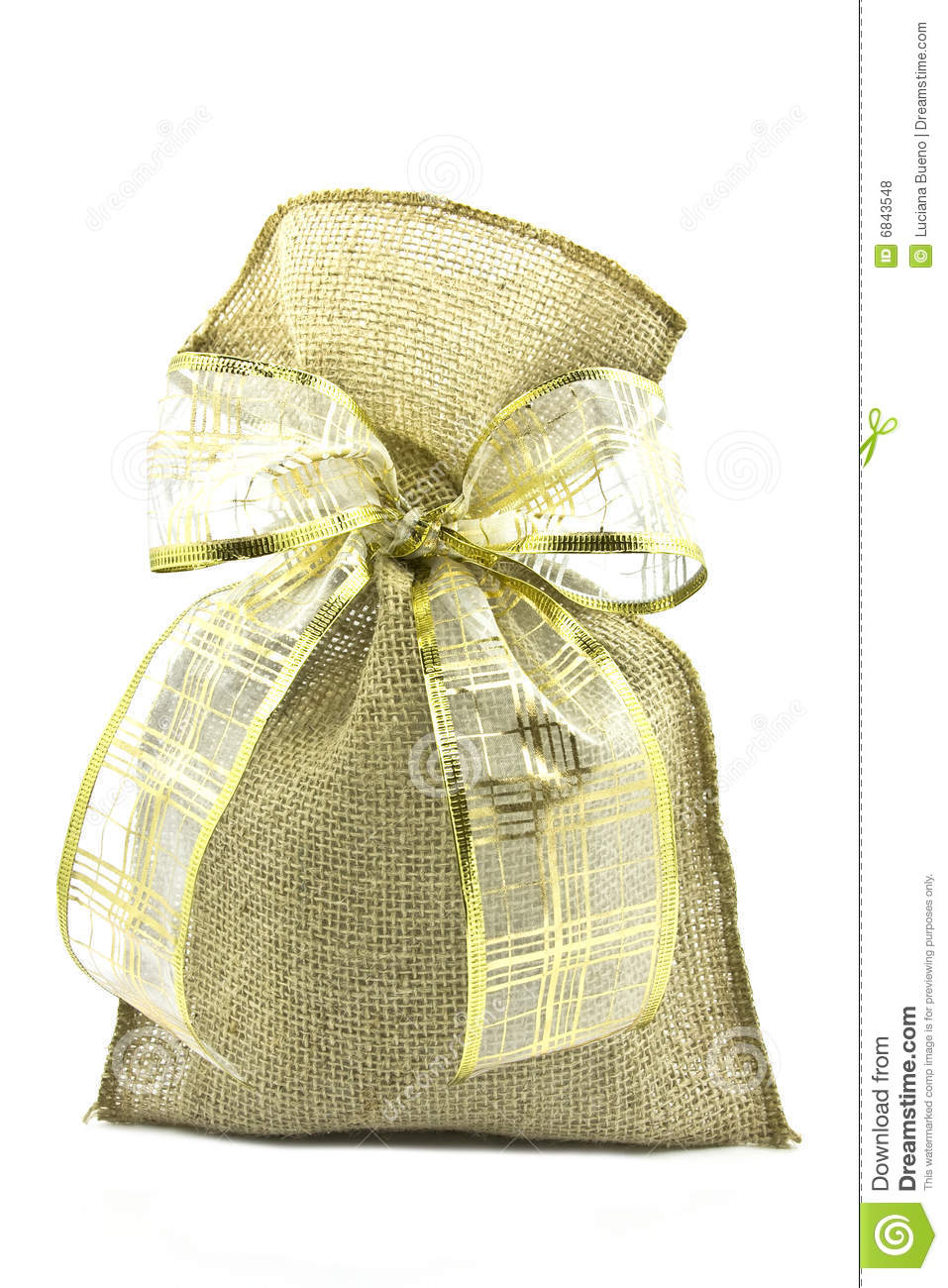 Burlap Sack With Bow Royalty Free Stock Photos   Image  6843548