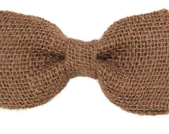 Chocolate Brown Burlap Clip On Bow Tie   Rustic Wedding