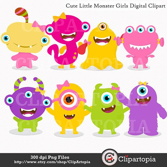 Cute Little Monster Girls Digital Clipart For Personal And Commercial