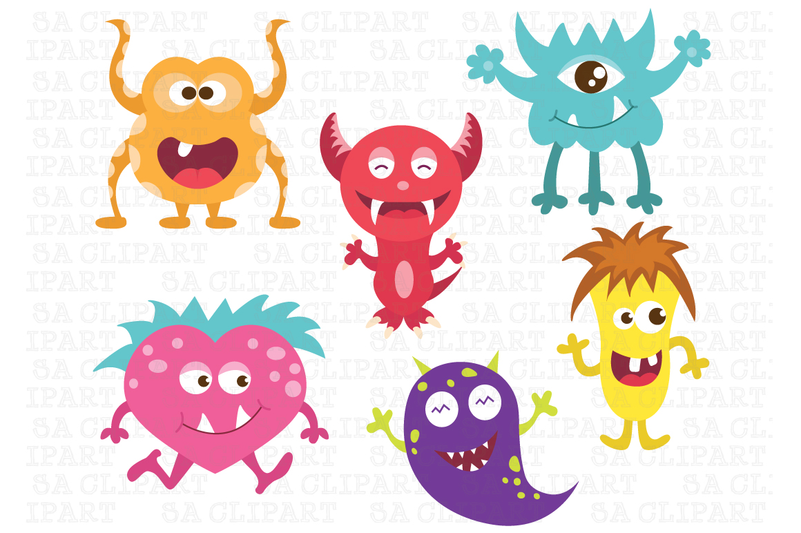 Cute Little Monsters Clipart   Illustrations On Creative Market