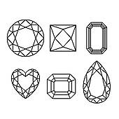 Diamonds Wireframe On White Background   Clipart Graphic