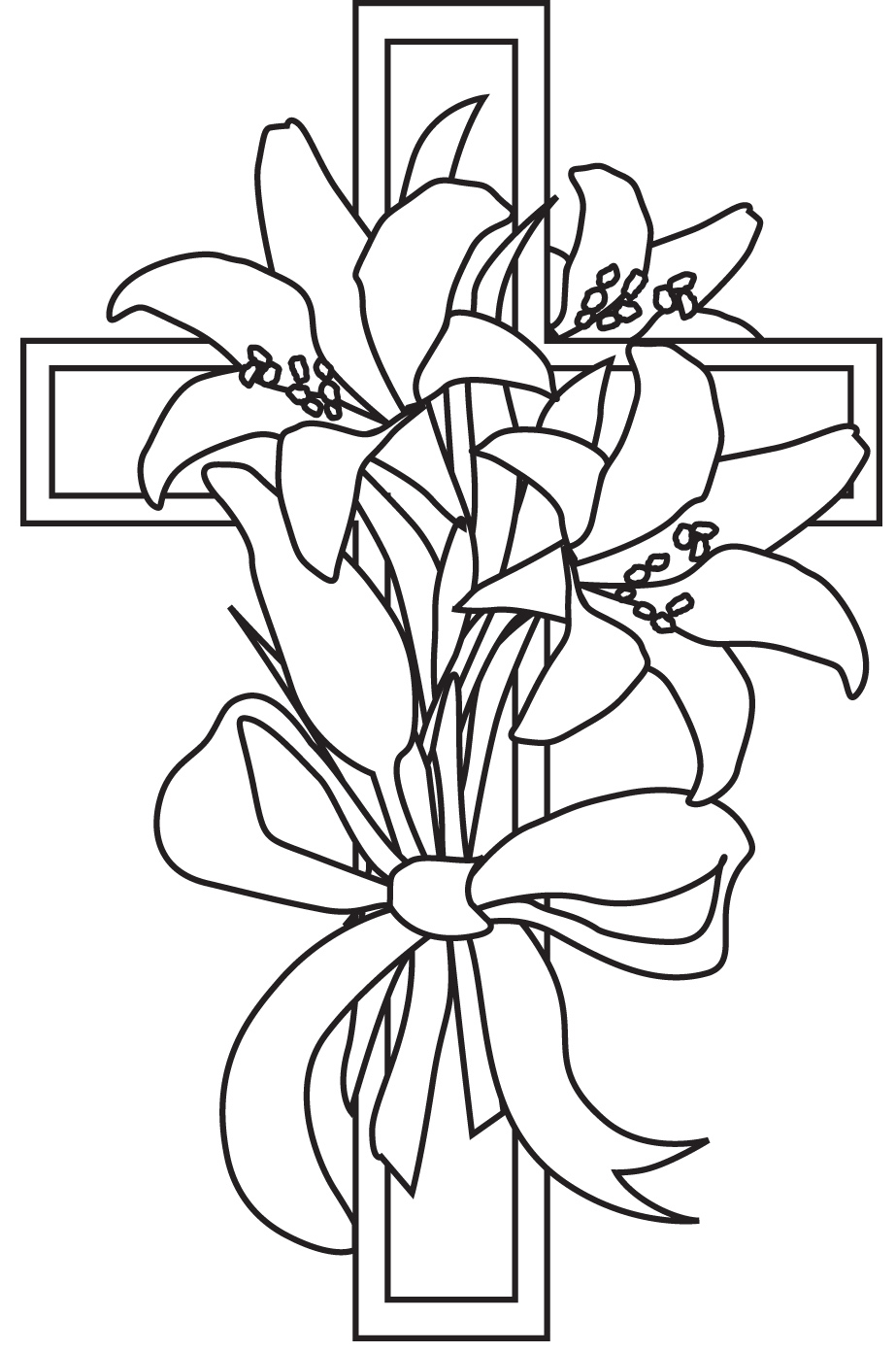 Easter cross with heart black and white clipart clipart for Coloring pages of crosses with flowers