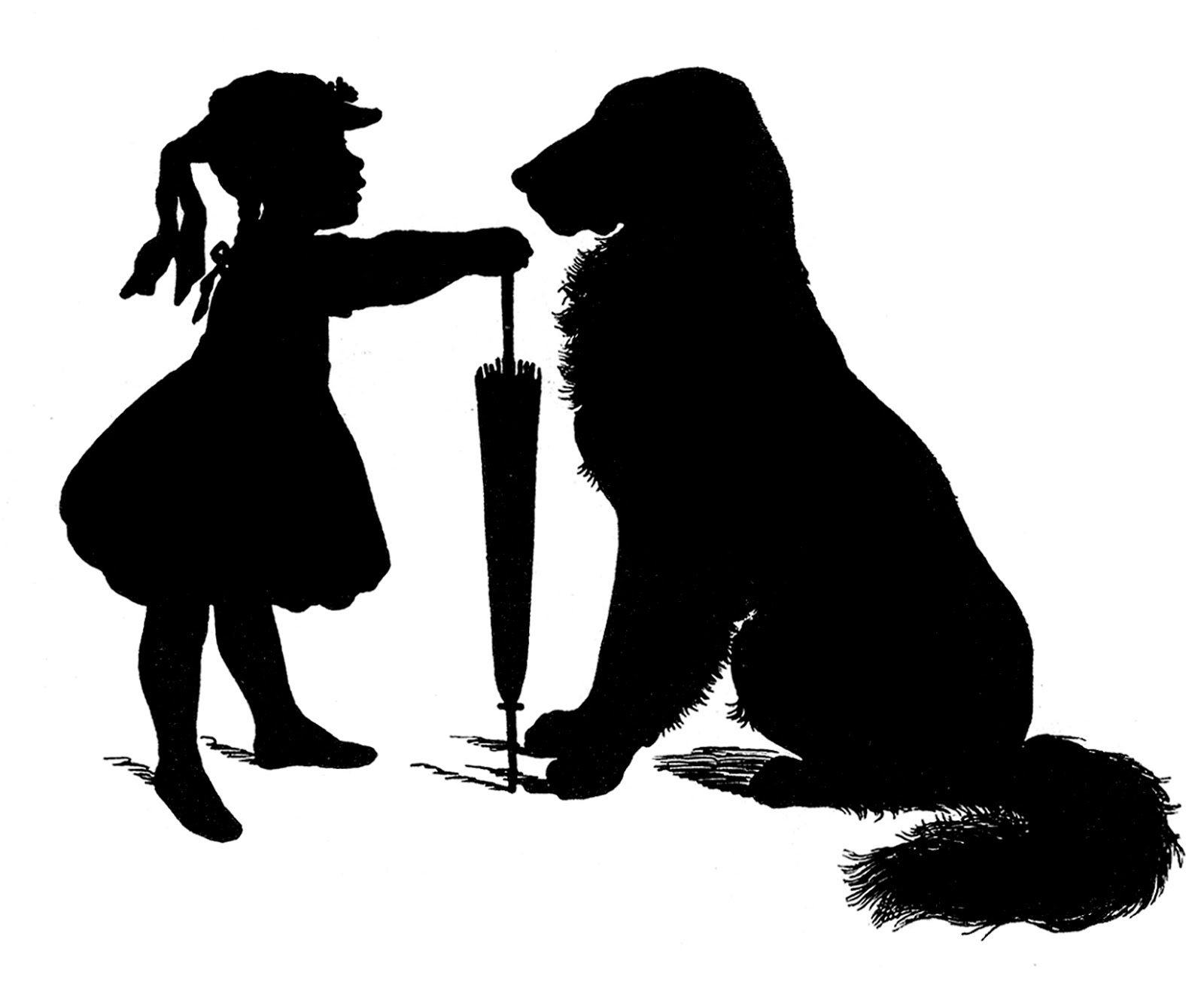 Free Vector Download   Silhouette   Girl With Dog   The Graphics Fairy