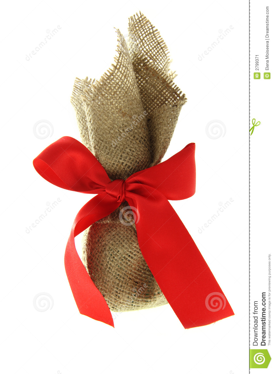 Gift Box Wrapped By Burlap Canvas With Red Bow Ready For Any Occasion