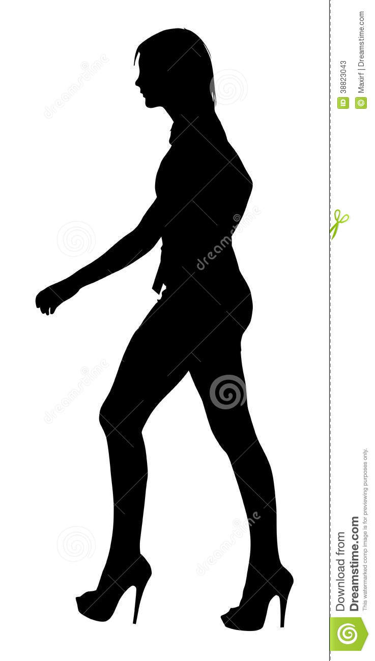 Image Of A Long Legged Teenage Girl Model Walking Silhouette