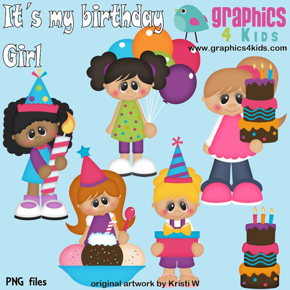 Its My Birthday Girl Digital Clipart   Clip Art For Scrapbooking
