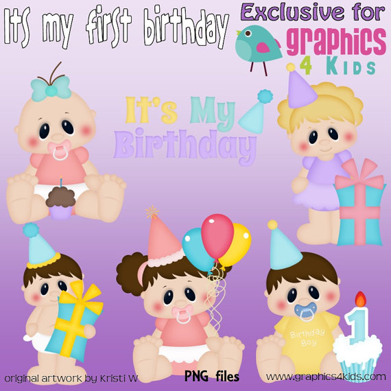 Its My First Birthday Digital Clipart   Clip Art For Scrapbooking