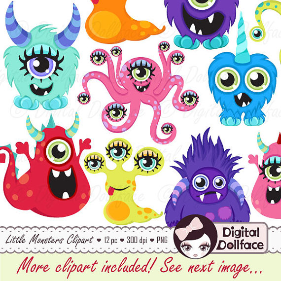 Little Monster Clipart Diy Birthday Party Decorations Cute Monster