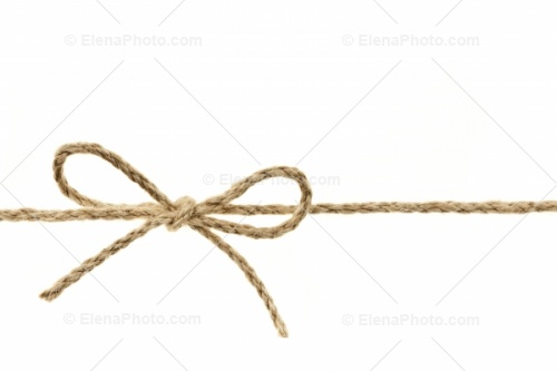 Of Braided Twine Tied In A Bow Knot Isolated On White Background