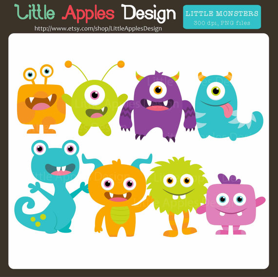 Petit Monstre Clipart   Little Monster Clipart   Cute Monster Clipart