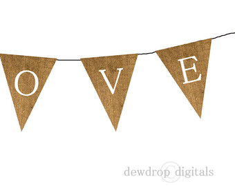 Sale Printable Burlap Love Bunting Banner Instant Download Wedding