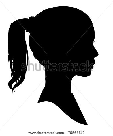 Silhouette Of A Girls Head   Stock Photo