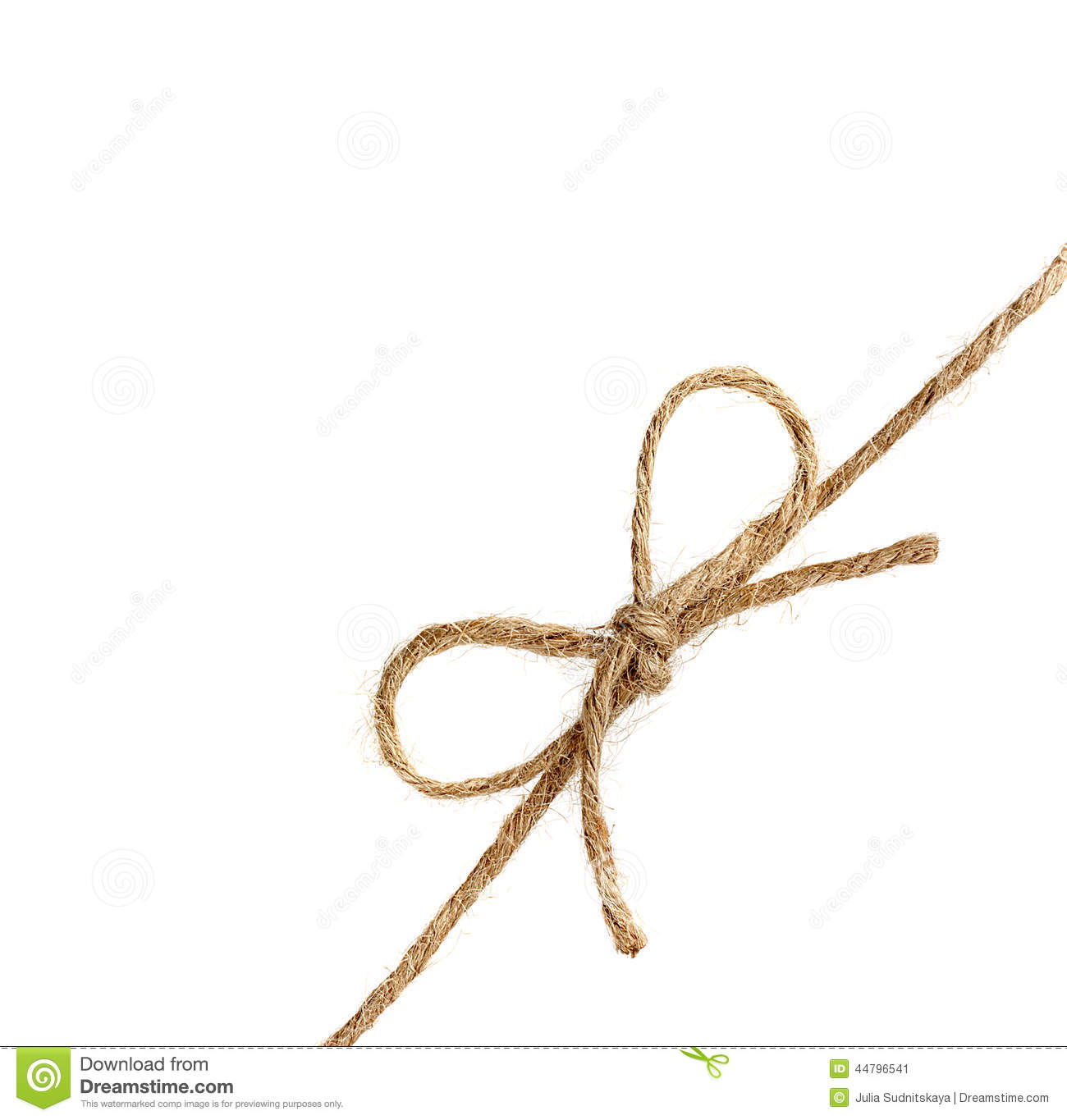 String Or Twine Tied In A Bow Isolated On White Stock Photo   Image