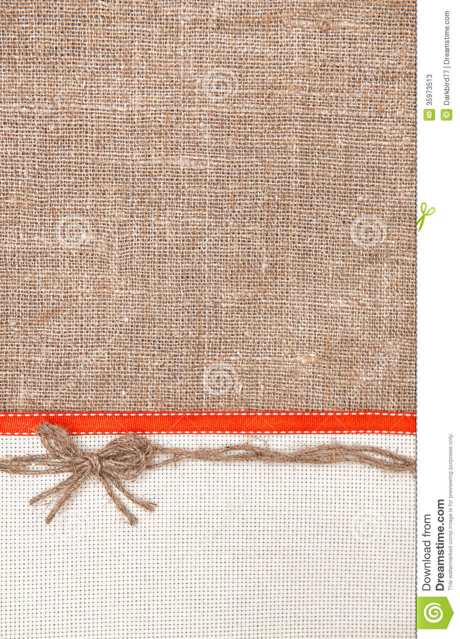Valentine Card With Ribbon And Burlap Bow Stock Photos   Image