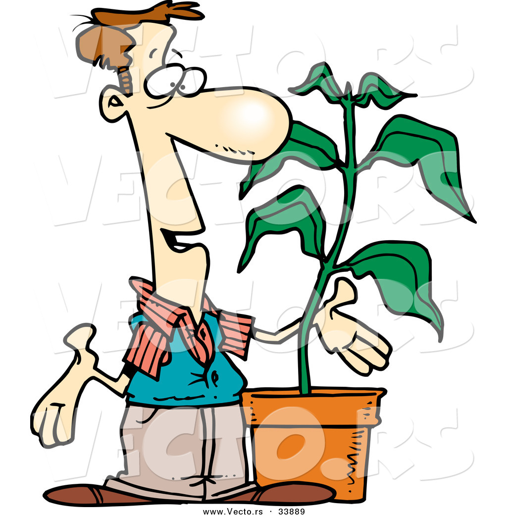 Vector Of A Cartoon Man Talking Beside A Potted Plant By Ron Leishman