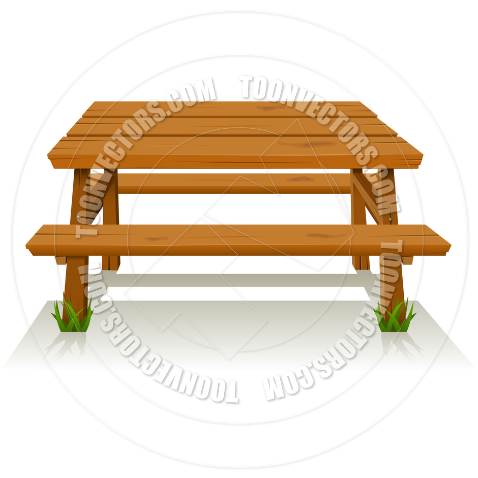 Wooden Picnic Table By Benchart   Toon Vectors Eps  15025