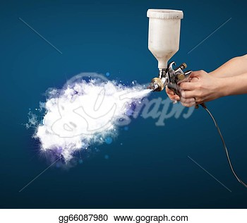 Clip Art   Painter With Airbrush Gun And White Magical Smoke   Stock