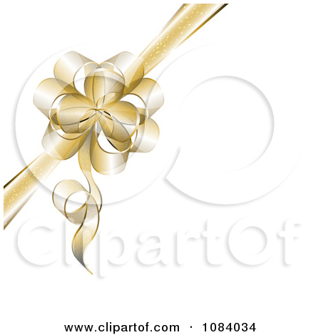 Clipart 3d Gold Gift Bow With Copyspace On White   Royalty Free Vector
