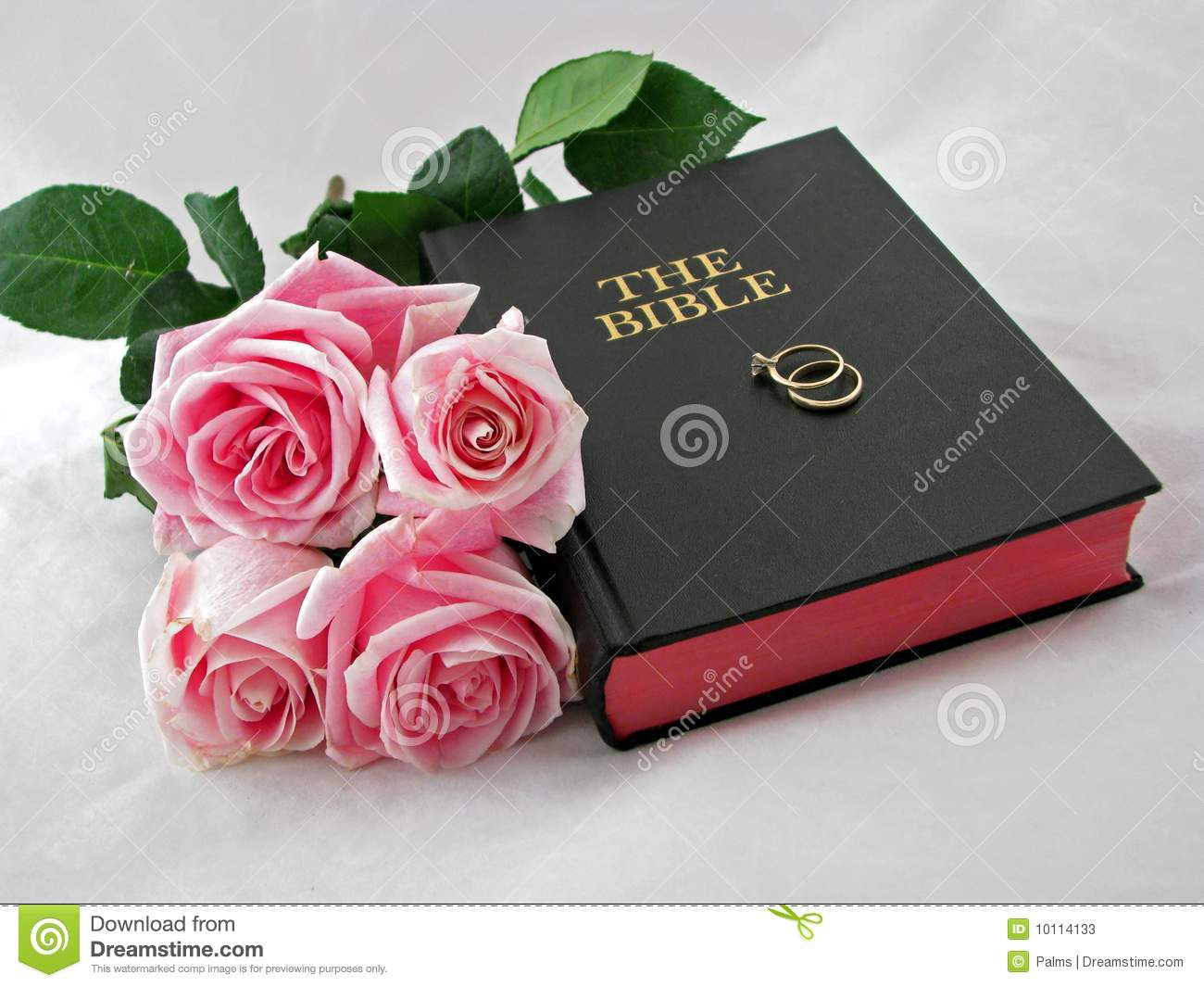Pair Of Wedding Rings On Holy Bible With Bouquet Of Pink Roses  Studio