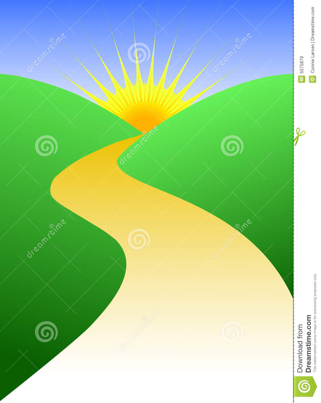 Stylized Illustration Of A Winding Golden Path Leading To A Horizon