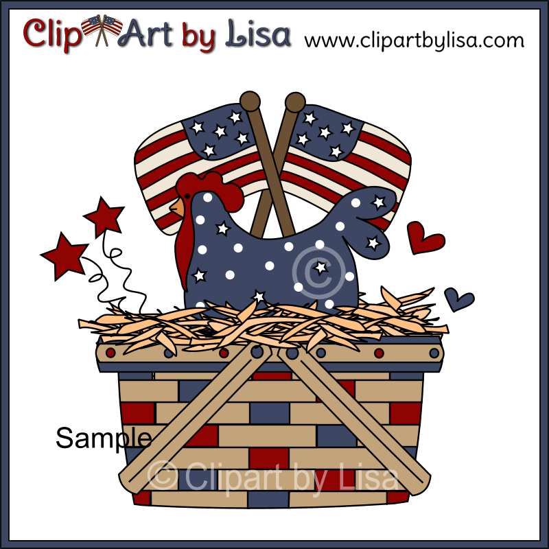 Americana Charm Clipart Set Sample Of Basket Of Chicken With Stars And