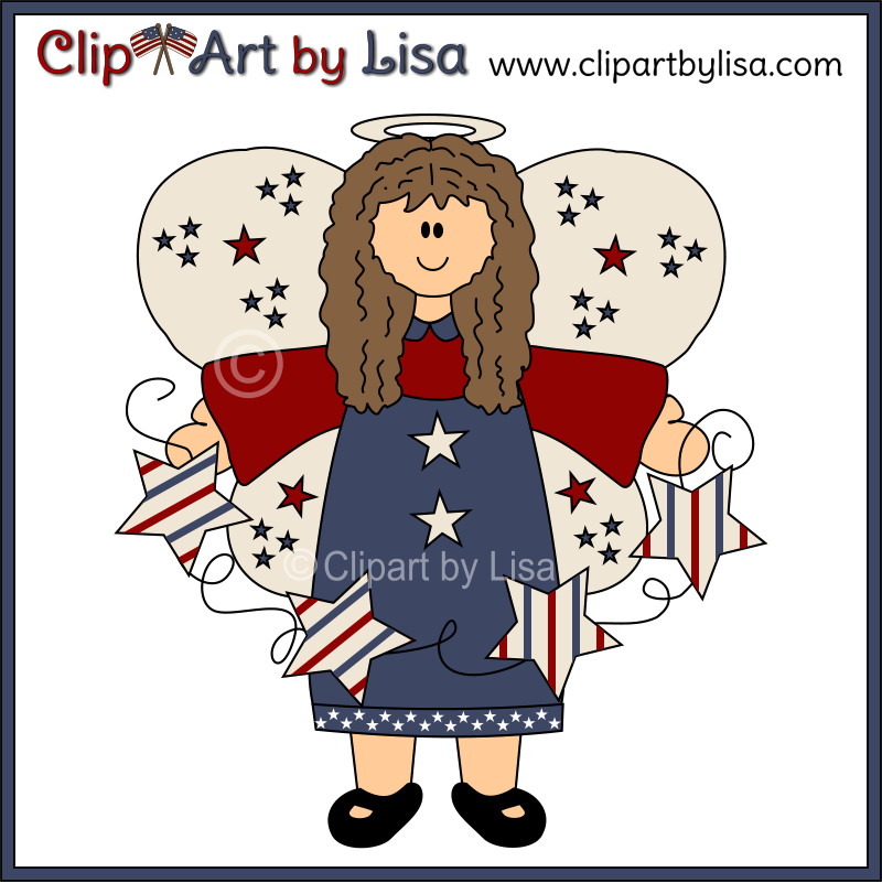 Americana Charm Clipart Set Sample Of Cute Americana Angel Holding