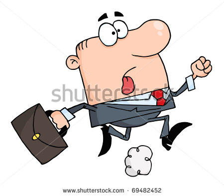 Businessman Running Carrying A Briefcase To Work Stock Photo Clipart