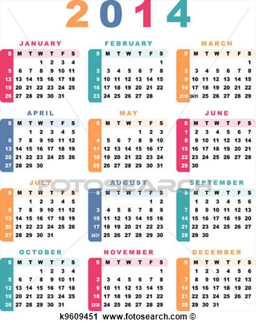 Calendar 2014  Week Starts With Sunday    Fotosearch   Search Clip Art